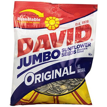 DAVID Roasted and Salted Original Jumbo Sunflower Seeds, 5.25 oz (Pack of 12)
