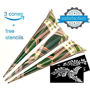 Henna Cones Tattoo Kit Ink Organic Brown Body Art Paste Temporary Tattoo Waterproof India Painting Ink Stencil Set (3pcs)