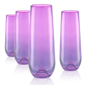 9 oz. Stemless Champagne Flute in Purple (Set of 4)