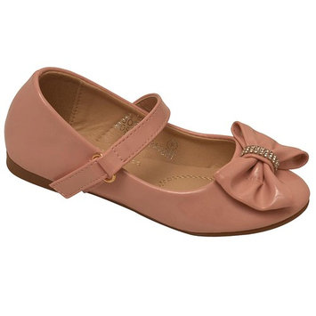 Bella Marie Girls Pink Rhinestone Bow Accent Mary Jane Shoes 11-4 Kids [clothing size type-regular]