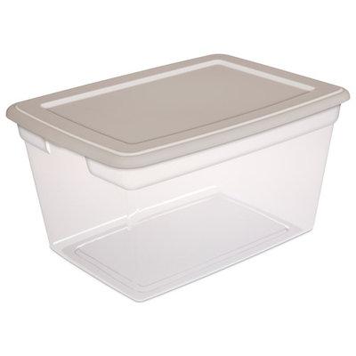 Sterilite 58 Quart Clear Storage Box, Grey Pumice