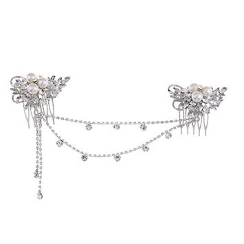 Dovewill Elegant Lady Girls Crystal Rhinestones Forehead Hair Comb Hair Jewelry Costume