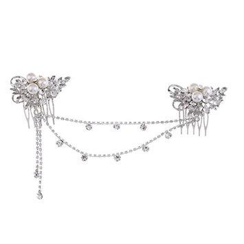 Dovewill Elegant Lady Girls Crystal Rhinestones Forehead Hair Comb Hair Jewelry Costume