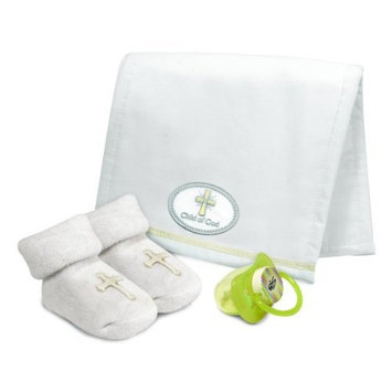 Stephan Baby Child of God Satin-Trimmed Burp Pad, Pacifier and Bootie Socks Gift Set, White, 0-6 Months (Discontinued by Manufacturer)