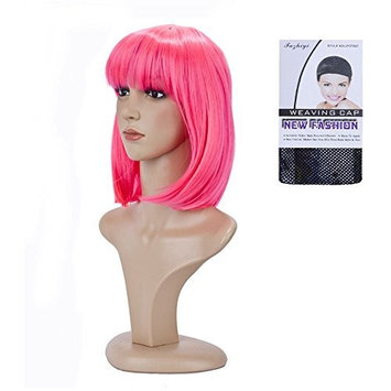 BeliHair Synthetic Short Straight Bob Costume Hair Wigs for Women's Girl's Cosplay Halloween Party Hot Natural As Real Hair 13 inch Pink
