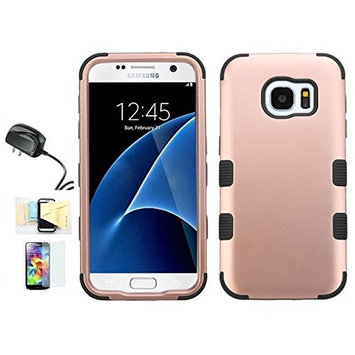 [Rose Gold/Black] Galaxy S7 Case, Shockproof Hybrid Dual Layer Protective Cover And Travel Charger Momiji [Screen Guard] Cleaning Cloth : Beauty