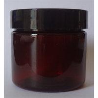 2-oz Amber Jars with Smooth Black Caps, Plastic [Set of 8]