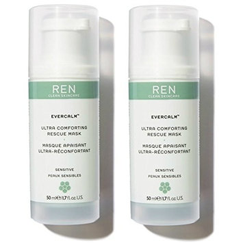 REN Skincare Evercalm Ultra Comforting Rescue Mask (Pack of 2) with Sunflower Seed Wax, Jojoba Seed Oil, and Lingonberry Seed Oil, 1.7 fl. oz.