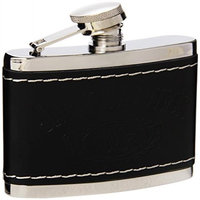 Jack Daniels Licenced Barware Jack Daniel's Black Leather Cover Flask