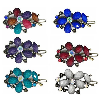 Set of 6 Crystal Flower Barrettes in Festive Colors LPW86250-4-6