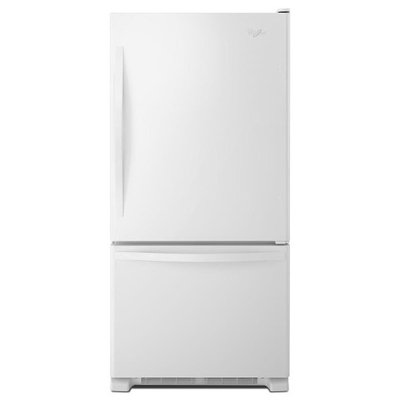 White-on-White Whirlpool(R) 22 cu. ft. Bottom-Freezer Refrigerator with Freezer Drawer