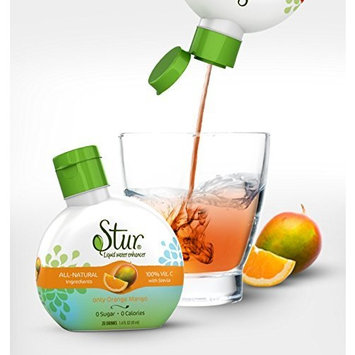 Stur Drinks - Orange Mango, Natural Flavored Water Enhancer, 5 Bottles, Makes 100 Beverages, Sugar Free, Zero Calorie, Fruit Flavored Liquid Drink Mix with Stevia and Healthy Antioxidants [Orange Mango]