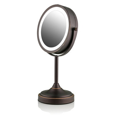 Ovente LED Lighted Tabletop Makeup Mirror, 7 Inch, Dual-Sided 1x/7x Magnification, Oil Rubbed Bronze (MCT70BZ1X7X)