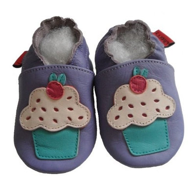 Soft Leather Baby Shoes Cupcake Purple 0-6 months