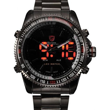 Shark Sport Watch Black Mens Date Day Display Army Big 44mm Stainless Steel Quartz Wrist Watch Dual Time Zone (with Gift Box) (best Valentine's day gift for him)