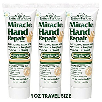 Miracle of Aloe, Miracle Hand Repair Cream 1 oz tube with 60% UltraAloe - 3 Pack Travel Sized