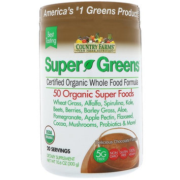 Country Farms, Super Greens, Certified Organic Whole Food Formula, Delicious Chocolate Flavor, 10.6 oz (300 g) [Flavor : Chocolate]