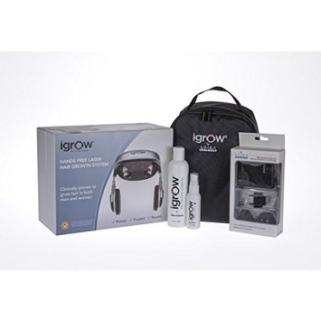 iGrow Hands-Free Laser LED Light Therapy Hair Regrowth Rejuvenation System - Premium Travel Package