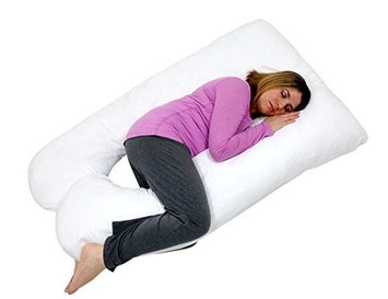 Web Linens Inc U Shaped- Premium Contoured Body Pregnancy Maternity Pillow with Zippered Cover - White - Exclusivel