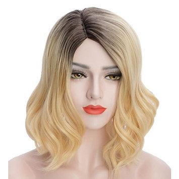 Karlery Dark Roots Fashion Heat Resistant Synthetic Wavy Hair Full Wig Bangs for Women Blonde Wig Dark Roots Wig (15