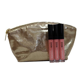 bareMinerals Marvelous Moxie Lipgloss 'Show Off' 4.5 ml - Set of 3 with Make Up Cosmetic Bag
