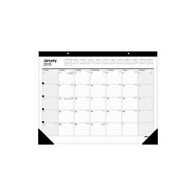 Office Depot(R) Brand Large Monthly Desk Pad Calendar, 22in. X 17in, 30% Recycled, White, January To December 2018