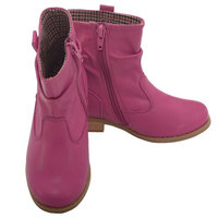 L' Amour Fuchsia Leather Mid Ankle Zip Fashion Boots Little Girls 11-2