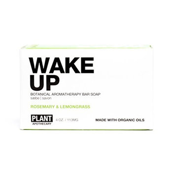 Wake Up Organic Bar Soap - Rosemary & Lemongrass by PLANTAPOTHECARY for Unisex - 4 oz Soap