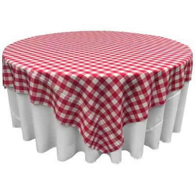 LA Linen TCcheck90x90-FuchsiaK49 Polyester Gingham Checkered Square Tablecloth White & Fuchsia - 90 x 90 in.