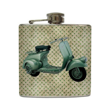 Vintage Vespa - Liquid Courage Flasks - 6 oz. Stainless Steel Flask