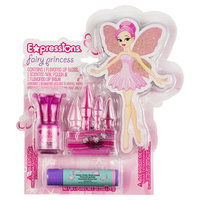 Expressions Fairy Princess 3-Piece Cosmetic Set - Lip Gloss, Lip Balm & Nail Polish