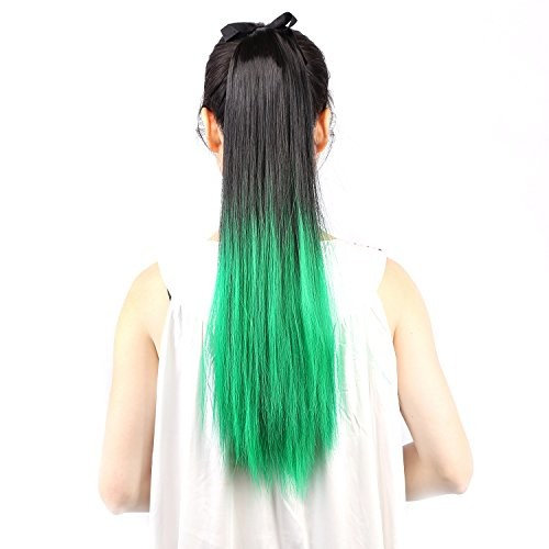 """Neitsi 22"""" (55cm) 120g Straight Women Girl's Hairpiece Wrap Cosplay Clip in Ponytail Color Synthetic Hair Extensions Two Tone (Green)"""