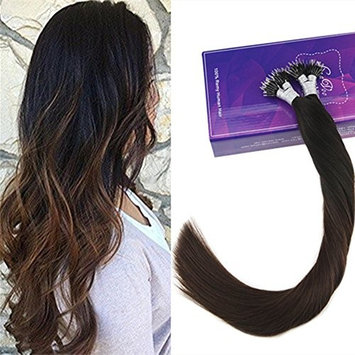 LaaVoo 18 inch 50g Pre Bonded Nano Stick Tips Hair Extensions Ombre Natural Black to Dark Brown 50 Strands Keratin Brazilian Natural Hair Extensions