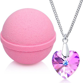 Love Potion Bath Bomb with Necklace Created with Swarovski Crystal Extra Large 10 oz. Made in USA
