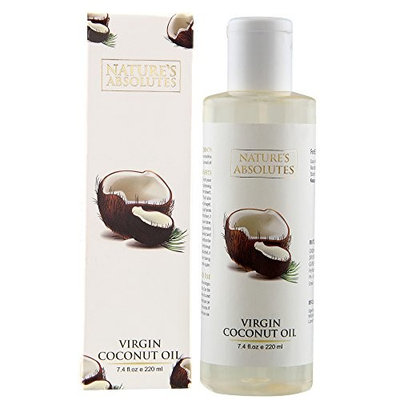 Indian Raw, Virgin,Pure Coconut Oil - 7.4Oz/ 220 ml, 100% Pure, Organic, Cold Pressed For Hair & Skin by Nature's Absolutes
