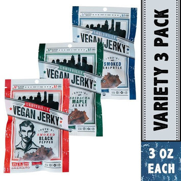 Louisville Vegan Jerky - 3 Flavor Variety Sampler Pack, Vegan/Vegetarian Jerky, 21 Grams of Protein (Bourbon Smoked Black Pepper, Perfect Pepperoni & Bourbon Smoked Spicy Chipotle, 3 oz)