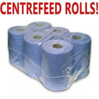 PPD 6 Pack 6 Ply Blue Embossed Centre Feed/Towel/Tissue Paper Wipe Rolls