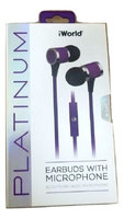 iWorld Platinum Earbuds w Mic and Tangle Free Cable