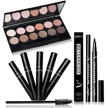 Qibest perfect combination of eye makeup Eye Shadow + Mascara + Eyeliner