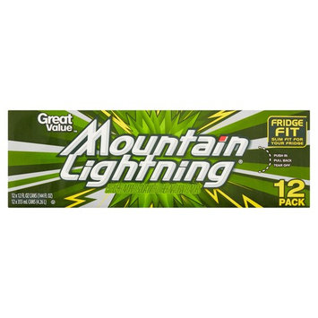 Great Value Mountain Lightning Soda, 12 fl oz, 12 Ct (Pack of 2)