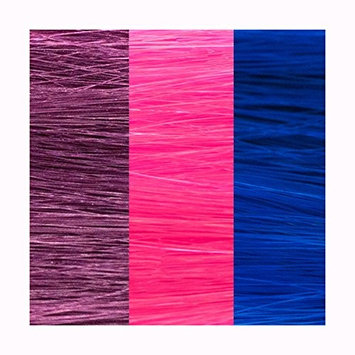 3 HAIR EXTENSION COLORS: PURPLE,FUSCHIA,ELECTRIC BLUE
