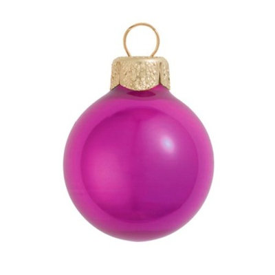 28ct Pearl Raspberry Pink Glass Ball Christmas Ornaments 2