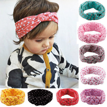 Polka Dot Headbands, Coxeer 8Pcs Elastic Cloth Hair Bands Hair Accessories for Baby Girls Infants Kids Toddlers Children