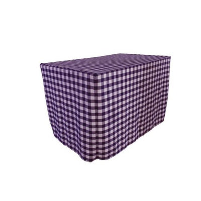 LA Linen TCcheck-fit-72x24x30-PurpleK23 Fitted Checkered Tablecloth White & Purple - 72 x 24 x 30 in.