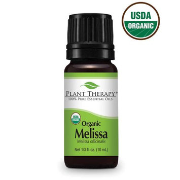 Plant Therapy Essential Oils Melissa Essential Oil USDA Certified Organic, Pure, Undiluted (Melissa officinalis) 10 ml (1/3 oz)