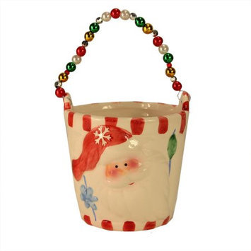 Cc Home Furnishings Pack of 4 Ceramic Decorative Christmas Buckets with Beaded Handle 6