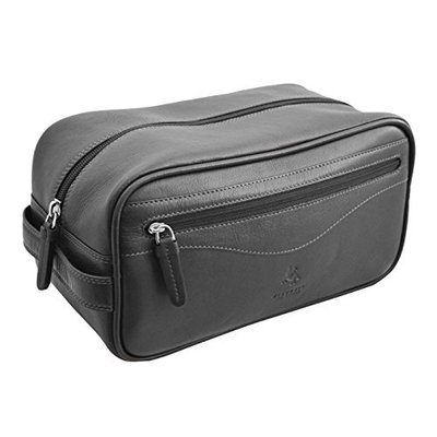 Visconti HT105 Leather Toiletry Travel Bag Dopp Kit (Black)