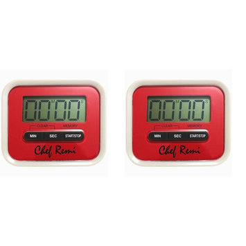 CHEF REMI Latest Digital Kitchen Timer, RED, 2 Pack