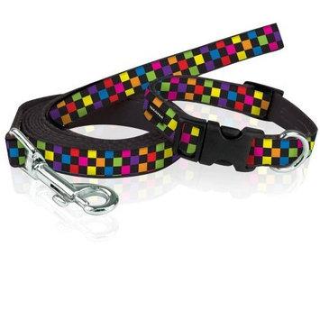 Yak Pak Dog Leash and Collar Set, Small, Multi Check