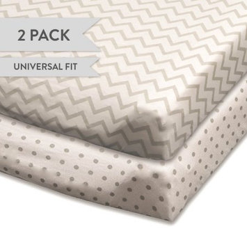 Changing Pad Cover Set, Cradle Sheet 2 Pack 100% Jersey Cotton Unisex Sheets for Baby Girl and Baby Boy Grey Chevron and Polka Dots by Ely's & Co.
